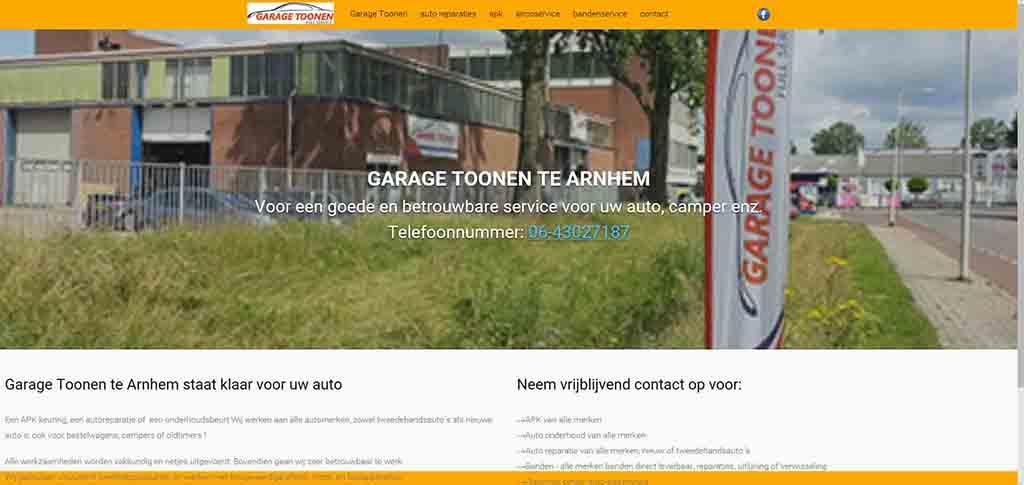 website voorbeeld Garage Toonen