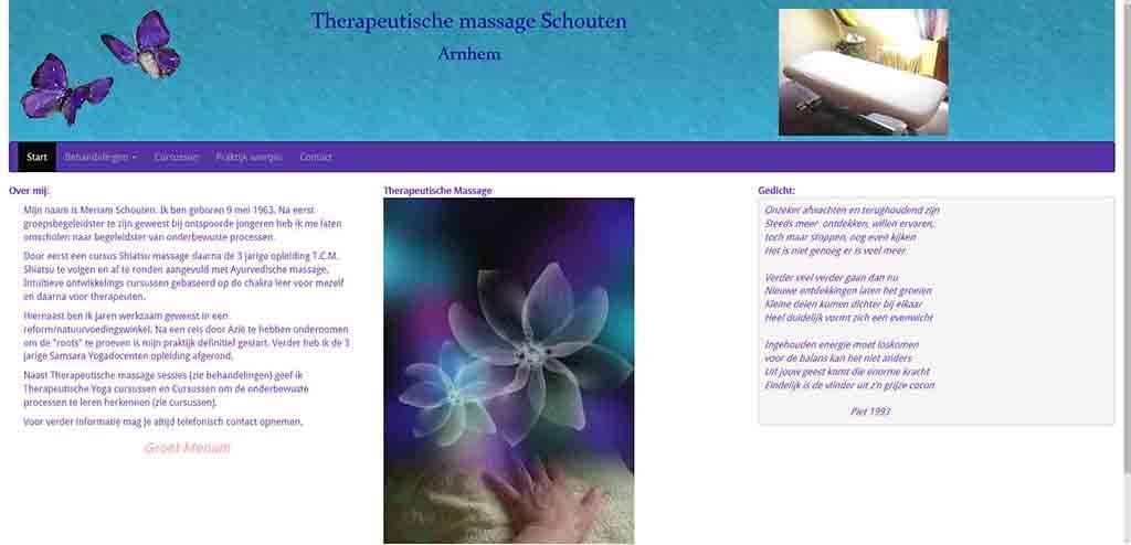 website voorbeeld Therapeutischemassage Schouten